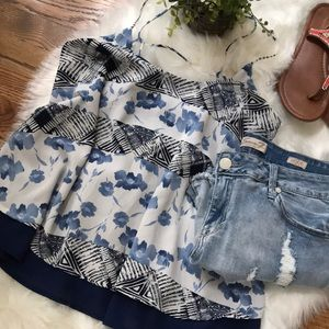 Floral/geometric strappy top size M NWT